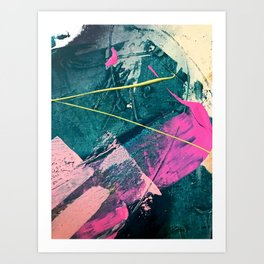 Wild [6]: a vibrant, bold, minimal abstract piece in teal, pink, and green Art Print