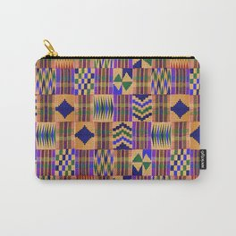 Kente Cloth // Anzac Yellow & Persian Blue Carry-All Pouch