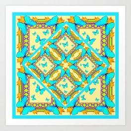 Western Style Turquoise Butterflies Creamy Gold Patterns Art Art Print
