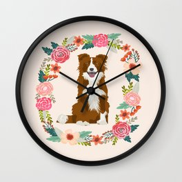 border collie brown floral wreath dog gifts pet portraits Wall Clock