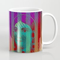 striped Mugs featuring Striped Lady by Connie Goldman