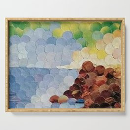 """"""" Seascape Hole Punch """" Serving Tray"""