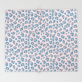 Leopard Print - Peachy Blue Throw Blanket
