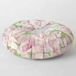 Shabby Chic Pink Roses Love Grows Here Inspirational Cottage Floral Prints Home Decor Floor Pillow