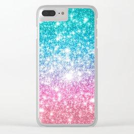 Mermaid Galaxy Sparkle Stars Clear iPhone Case
