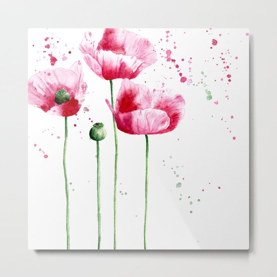 Expressive poppies || watercolor Metal Print