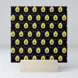 Happy Avocados on Black Mini Art Print