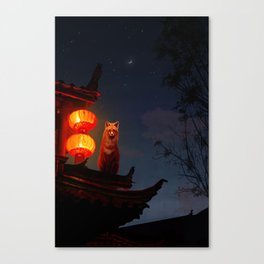 Fox Shrine Guardian  Canvas Print