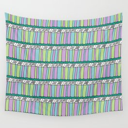Doodle Books - Pattern in Green, Purple and Blue Wall Tapestry