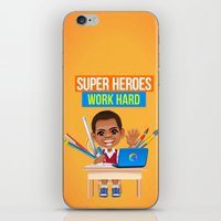 super heroes iPhone & iPod Skins featuring Super Heroes Work Hard by youngmindz