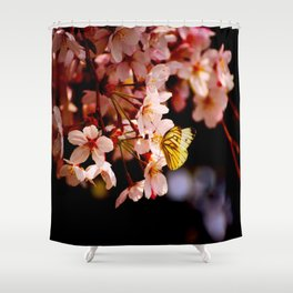 Yellow Butterfly Kissing Pink Cherry Blossom Shower Curtain