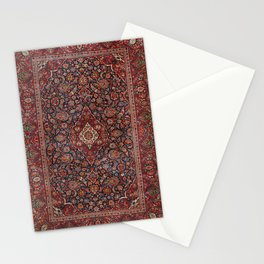 Persia Kurk Kashan Old Century Authentic Colorful Surreal Red Collage Vintage Rug Pattern Stationery Cards