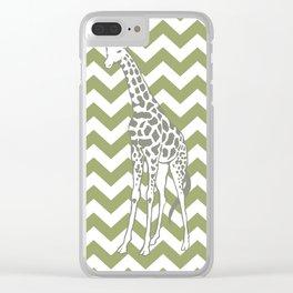 Green Safari Chevron with Pop Art Giraffe Clear iPhone Case
