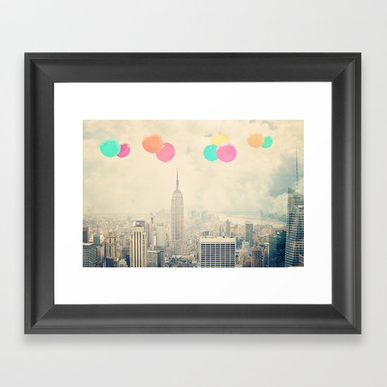 Balloons over the City Framed Art Print