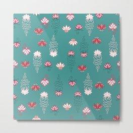Baby Green Background Lotus seamless pattern  Metal Print