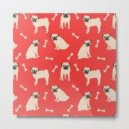 Just pugs pattern Metal Print