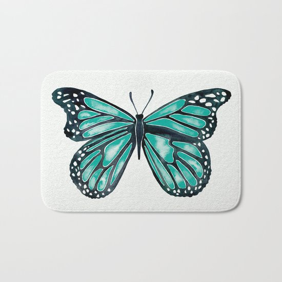 Turquoise Butterfly Bath Mat