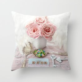 Shabby Chic Cottage Roses Love Vintage Spoon Prints Home Decor Throw Pillow