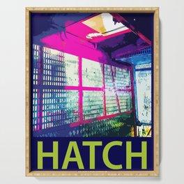 Hot Pink Hatch Digital Manipulation Serving Tray
