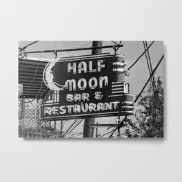 Half Moon Bar New Orleans Photo, Old Neon Bar Sign, Black and White Photography, Man Cave Decor Metal Print