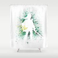 the legend of zelda Shower Curtains featuring The Legend of Zelda - Link by Kyle Samuel