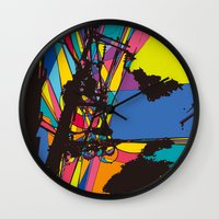 the wire Wall Clocks featuring wire by PINT GRAPHICS