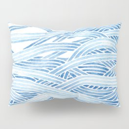 Blue sailboat, watercolor nautical ocean waves sea Pillow Sham