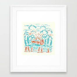 Namaste in Teal and Red Framed Art Print