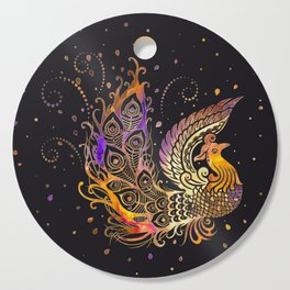 Colorful Glow Phoenix Bird Cutting Board