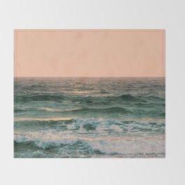 Pink Skies Ocean Vibes Throw Blanket