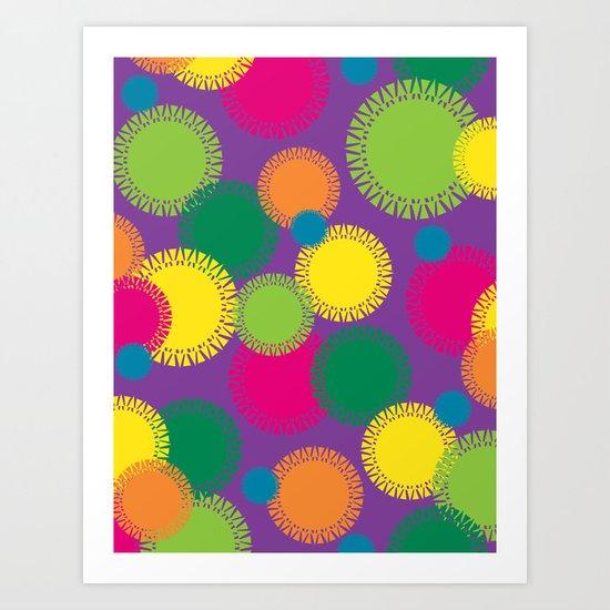Spikey Circles Purple Art Print