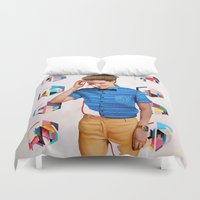queer Duvet Covers featuring Mon by Kim Leutwyler