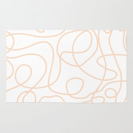 Doodle Line Art   Peach/Apricot Lines on White Background Rug