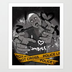 I Heart Zombies Art Print