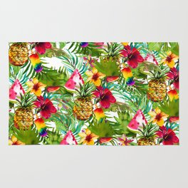 Tropical red yellow orange watercolor pineapple fruit floral Rug
