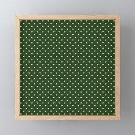 Small White Polka Dot Hearts on Dark Forest Green Framed Mini Art Print