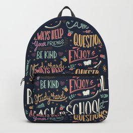 Back to school colorful typography drawing on blackboard with motivational messages, hand lettering Backpack