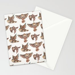 Owls in Flight – Brown Palette Stationery Cards