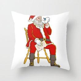Santa Claus Vaping Throw Pillow