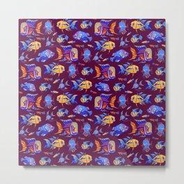 Fun tropical fishes on dark purple Metal Print