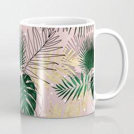 Modern gold tropical leaves and doddles design Coffee Mug