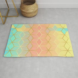 Square and gold lines IX Rug