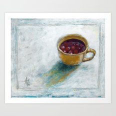 Cherry compote in my cup Art Print