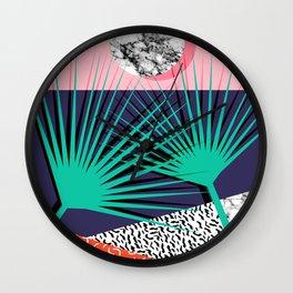 Head Rush - palm springs throwback desert sunrise neon 80s style vintage fresh home decor hipster co Wall Clock