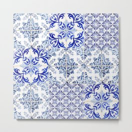 Azulejo VIII - Portuguese hand painted tiles Metal Print