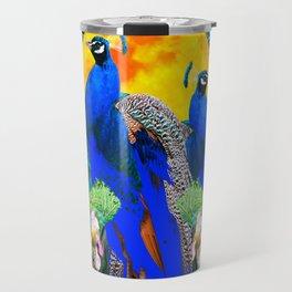 IRIS ART BLUE PEACOCKS & FULL GOLDEN MOON Travel Mug