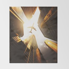 airplane in nyc Throw Blanket