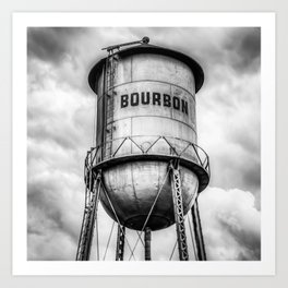 Bourbon Monochrome Whiskey Water Tower Barrel and Cloudy Skies Art Print