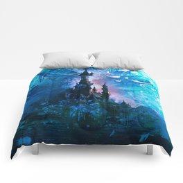 Blue Grunge Fairytale Fantasy Castle Comforters