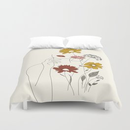 Colorful Thoughts Minimal Line Art Woman with Flowers III Duvet Cover